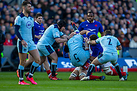 8th March 2020; Murrayfield Stadium, Edinburgh, Scotland; International Six Nations Rugby, Scotland versus France; Francois Cros of France foul tackles Grant Gilchrist of Scotland and gets a yellow card