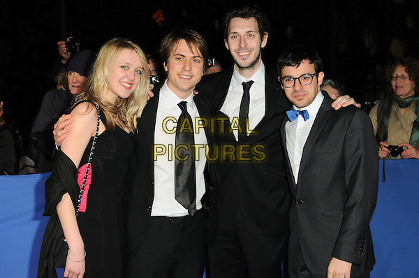 EMILY HEAD, JOE THOMAS, BLAKE HARRISON & SIMON BIRD of 'The Inbetweeners'.Attending the British Comedy Awards 2011 at Indigo, The O2 Arena, London.England, UK, January 22nd, 2011..arrivals half length cast black dress suit tie bow blue glasses tuxedo tux grey gray .CAP/CAS.©Bob Cass/Capital Pictures.