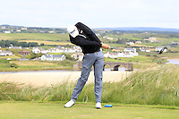 Shane McGlynn (Carton House) on the 9th tee during Round 3 of The South of Ireland in Lahinch Golf Club on Monday 28th July 2014.<br /> Picture:  Thos Caffrey / www.golffile.ie