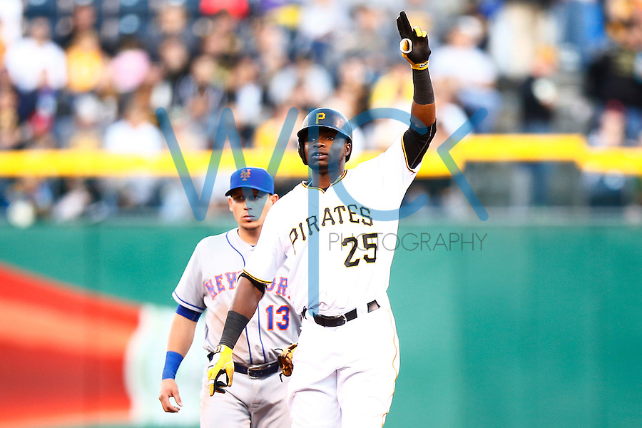 Gregory Polanco #25 of the Pittsburgh Pirates reacts following a double against the New York Mets during the game at PNC Park in Pittsburgh, Pennsylvania on June 8, 2016. (Photo by Jared Wickerham / DKPS)