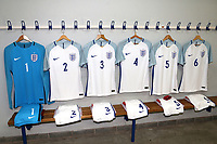 England shirts on display in the dressing room during England Under-18 vs Ivory Coast Under-20, Toulon Tournament Final Football at Stade de Lattre-de-Tassigny on 10th June 2017