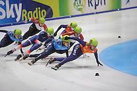 SHORTTRACK: DORDRECHT: Sportboulevard Dordrecht, 24-01-2015, ISU EK Shorttrack, 1500m Men Final A,  Thibaut FAUCONNET (FRA | #19), Semen ELISTRATOV (RUS | #61), Sjinkie KNEGT (NED | #51), ©foto Martin de Jong