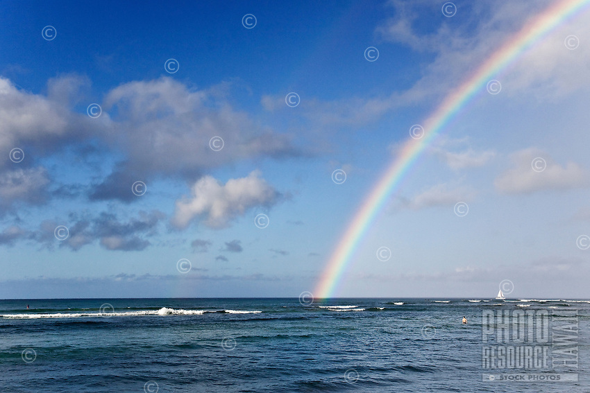 A rainbow over the Pacific Ocean, one of Hawai'i's trademarks