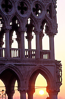 Italy, Venice, The Doge's Palace, (Palazzo Ducale) detail of exterior corner of palace at sunrise