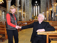 02-05-2013; Fr Ray Browne, who was announced as new Bishop of Kerry, is congratulated by a  local parishioner   at St. Marys Cathedral, Killarney on Thursday. Picture: Eamonn Keogh ( MacMonagle, Killarney)