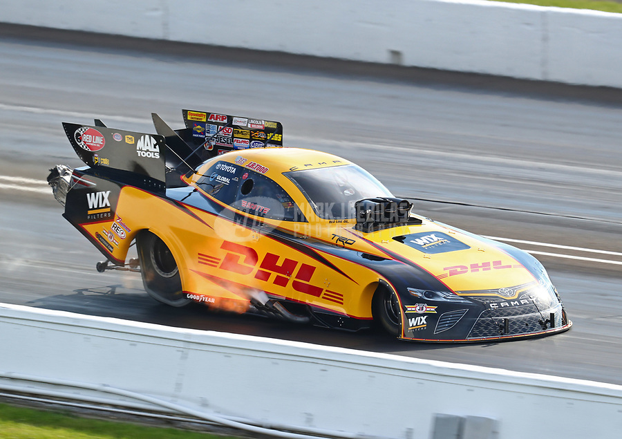 Sep 1, 2018; Clermont, IN, USA; NHRA funny car driver J.R. Todd during qualifying for the US Nationals at Lucas Oil Raceway. Mandatory Credit: Mark J. Rebilas-USA TODAY Sports
