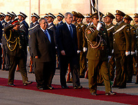 Baghdad, Iraq - December 14, 2008 -- United States President George W. Bush and President Jalal Talabani of Iraq review Iraqi troops Sunday, December 14, 2008 on their way to Salam Palace in Baghad. Bush is on his final visit to Iraq before the end of his second presidential term to meet with Iraqi leaders and sign a ceremonial copy of the security agreement. <br /> CAP/MPI/CNP/RS<br /> &copy;RS/CNP/MPI/Capital Pictures