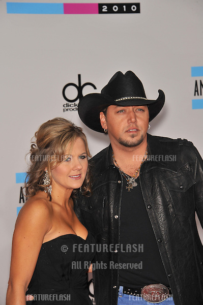Jason Aldean & wife at the 2010 American Music Awards at the Nokia Theatre L.A. Live in downtown Los Angeles..November 21, 2010  Los Angeles, CA.Picture: Paul Smith / Featureflash