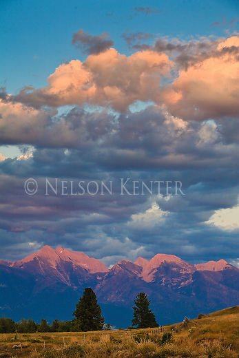 Alpenglow on the Mission Mountains near St. Ignatius, Montana