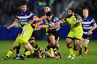 Adam Hastings of Bath Rugby takes on the Leicester Tigers defence. Anglo-Welsh Cup match, between Bath Rugby and Leicester Tigers on November 4, 2016 at the Recreation Ground in Bath, England. Photo by: Patrick Khachfe / Onside Images