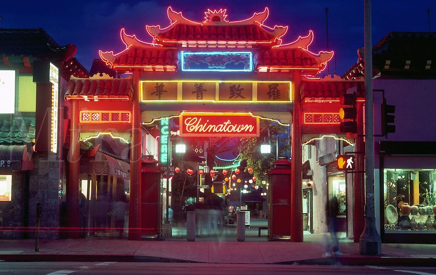 The gateway to Chinatown; a modern take on traditional Chinese architecture. Los Angeles, California.
