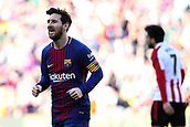 18th March 2018, Camp Nou, Barcelona, Spain; La Liga football, Barcelona versus Athletic Bilbao; Lionel Messi of FC Barcelona celebrates his goal for 2-0 in the 30th minute