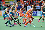 The Hague, Netherlands, June 14: Naomi van As #18 of The Netherlands looks on during the field hockey gold medal match (Women) between Australia and The Netherlands on June 14, 2014 during the World Cup 2014 at Kyocera Stadium in The Hague, Netherlands. Final score 2-0 (2-0)  (Photo by Dirk Markgraf / www.265-images.com) *** Local caption *** (L-R) Madonna Blyth #12 of Australia, Jodie Kenny #7 of Australia, Kate Jenner #22 of Australia, Naomi van As #18 of The Netherlands, Ellen Hoog #19 of The Netherlands