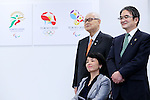 (L-R) Yoshiro Mori, Aki Taguchi, Ryohei Miyata, April 8, 2016 : <br /> The Tokyo 2020 Emblems Selection Committee unveiled Shortlisted Emblem designs in Tokyo, Japan. (Photo by Yohei Osada/AFLO SPORT)