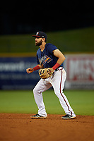 Mississippi Braves second baseman Alejandro Salazar (48) during a Southern League game against the Jacksonville Jumbo Shrimp on May 4, 2019 at Trustmark Park in Pearl, Mississippi.  Mississippi defeated Jacksonville 2-0.  (Mike Janes/Four Seam Images)