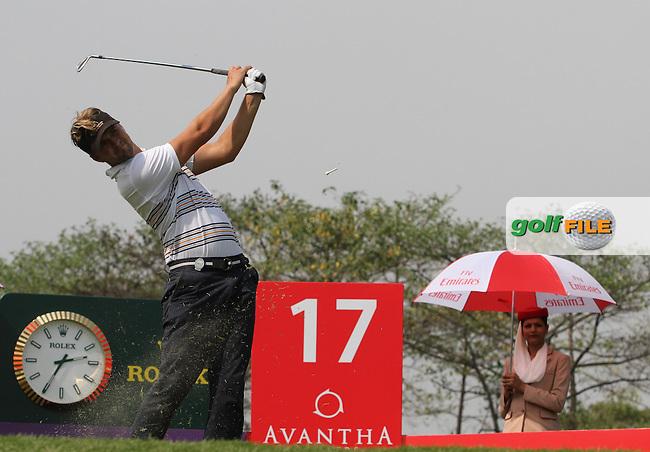 Rikard Karlberg (SWE) on the 17th during Round 3 of the 2013 Avantha Masters, Jaypee Greens Golf Club, Greater Noida, Delhi, 16/3/13..(Photo Jenny Matthews/www.golffile.ie)