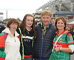 Geena Leamy from Louisburgh, Ava-Jane McLoughlin, Martin McLoughlin and Miriam Kelly from Parke at the All Ireland final replay.<br />Pic Conor McKeown