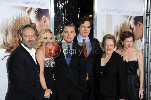 L-R Sam Mendes, Kate Winslet, Leonardo DiCaprio, Michael Shannon, Kathy Bates and Kathryn Hahn <br /> at the World Premiere of 'Revolutionary Road'. Mann Village Theater, Westwood, CA. 12-15-08<br /> Dave Edwards/DailyCeleb.com 818-249-4998
