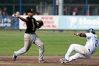 03 September 2011: Vince Rooi of L&D Amsterdam Pirates throws to first base for the double play during game 1 of the 2011 Holland Series won 5-4 in inning number 14 by L&D Amsterdam Pirates over Vaessen Pioniers, in Hoofddorp, Netherlands.