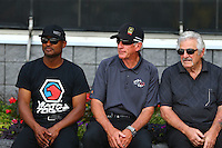 Jun 21, 2015; Bristol, TN, USA; NHRA top fuel driver Chris Karamesines (right) sitting with Mike Lewis (center) and top fuel driver Antron Brown during the Thunder Valley Nationals at Bristol Dragway. Mandatory Credit: Mark J. Rebilas-