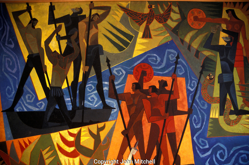 Detail of painting entitled El Descubriento del Amazonas by Oswaldo Guayasamin, Museo Guayasamin, Quito, Ecuador. Indigenous painter Oswaldo Guayasamin (1919-199) was Ecuador's best known modern artist. His former home has been turned into a museum with galleries displaying his paintings and his collections of pre-Columbian and colonial art.