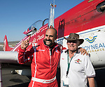 Jay Conslvi, left, from Lakewood,CO with plane owner Tiger Destefani, won the Unlimited Gold Championship in his P-51 Strega during the National Championship Air Races in Reno, Nevada on Sunday, Sept. 17, 2017.