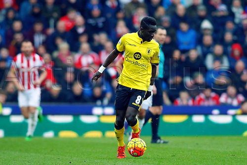 27.02.2016. Britannia Stadium, Stoke, England. Barclays Premier League. Stoke City versus Aston Villa. Idrissa Gueye of Aston Villa runs with the ball