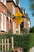 Liberal Democrats election poster on a house in Hampstead and Kilburn, the second most marginal constituency in the UK, held by Labour with a majority of 42 at the 2010 general election.