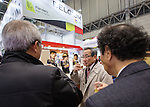 March 3, 2015, Chiba, Japan - A picture released on March 4, 2015 shows visitors tasting beer at the Belgium booth during the 40th annual International Food and Beverage Exhibition (FOODEX JAPAN 2015). Some 2,977 exhibitors from 79 nations participate in what is known to be the largest food and beverage exhibition in Asia. 75,000 buyers which include wholesalers, food service companies, and distributors are expected to attend FOODEX which runs from March 3-6. (Photo by AFLO)