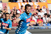 Amin Younes of Napoli  celebrates after scores during the  italian serie a soccer match, AS Roma -  SSC Napoli       at  the Stadio Olimpico in Rome  Italy , March 31, 2019
