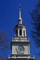 Independence Hall, Philadelphia, Pennsylvania, PA, Steeple of Independence Hall at Independence National Historical Park in downtown Philadelphia.