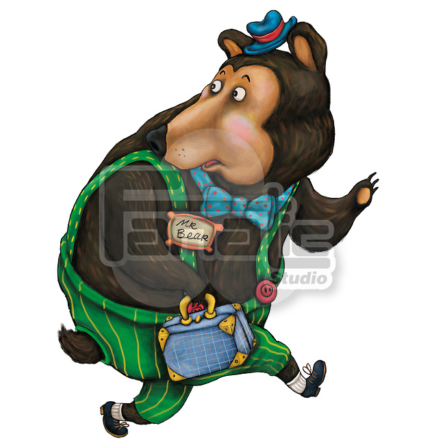 Illustration of scared bear with briefcase running over white background