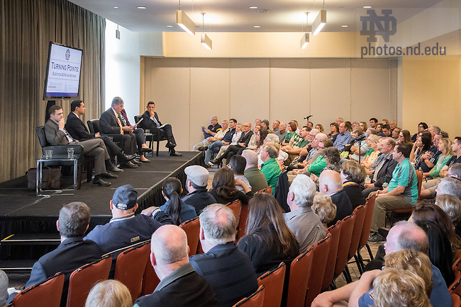 """November 11, 2016; Panel discussion """"Turning Points: Election 2016 and Beyond,"""" hosted by the Rooney Center for the Study of American Democracy & Institute for Latino Studies. (Photo by Matt Cashore/University of Notre Dame)"""
