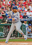 7 October 2016: Los Angeles Dodgers third baseman Justin Turner at bat during the NLDS Game 1 against the Washington Nationals at Nationals Park in Washington, DC. The Dodgers edged out the Nationals 4-3 to take the opening game of their best-of-five series. Mandatory Credit: Ed Wolfstein Photo *** RAW (NEF) Image File Available ***