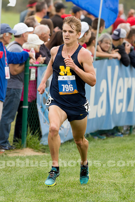 Michigan men's cross country runner Jordan Hewitt (796) competes at the Indiana State Pre-National Cross Country Invitational on Saturday, Oct. 15, 2016, in Terre Haute, Indiana. (Photo by James Brosher)