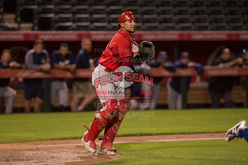 Los Angeles Angels catcher Jose Briceno (78) during a Minor League Spring Training game against the Milwaukee Brewers at Tempe Diablo Stadium on March 29, 2018 in Tempe, Arizona. (Zachary Lucy/Four Seam Images)