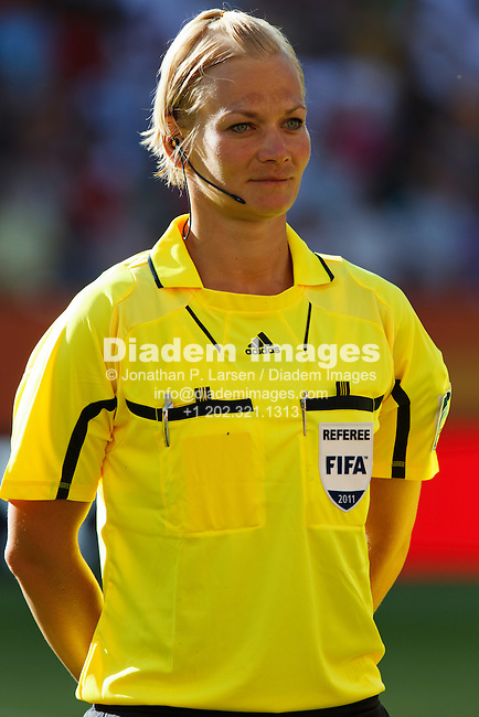 DRESDEN, GERMANY - JUNE 28:  Referee Bibiana Steinhaus stands during team introductions prior to a FIFA Women's World Cup Group C match between the United States and North Korea June 28, 2011 at Rudolf Harbig Stadion in Dresden, Germany.  Editorial use only.  (Photograph by Jonathan P. Larsen)