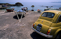 Fiat Topolino, boats and fishermen at the seaside, Sicily, Italy, Europe, 2003