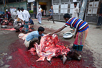 Bangladeshi Muslim people celebrate the Eid-ul-adha today as animals are sacrificed for the festival. Dhaka, Bangladesh. Oct. 6, 2014