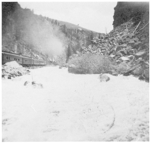 A photographic copy of RD036-032.  View in canyon, view from side of train.<br /> D&amp;RG  Eagle River Canyon, CO  ca 1910