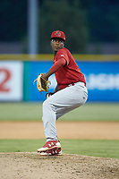 Johnson City Cardinals relief pitcher Edwar Ramirez (18) in action against the Burlington Royals at Burlington Athletic Stadium on July 15, 2018 in Burlington, North Carolina. The Cardinals defeated the Royals 7-6.  (Brian Westerholt/Four Seam Images)