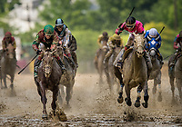 BALTIMORE, MD - MAY 19:  Nik Juarez celebrates aboard Actress #10, after defeating Lights of Medina #5 ridden Feargal Lynch to win the Black-Eyed-Susan Stakes at Pimlico Race Course on May 19, 2017 in Baltimore, Maryland. (Photo by Alex Evers/Eclipse Sportswire/Getty Images)