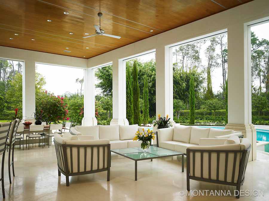 Outdoor living room with high gloss wood ceiling