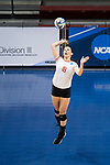 GRAND RAPIDS, MI - NOVEMBER 18: Maddie Fischer (18) of Wittenberg University serves the ball during the Division III Women's Volleyball Championship held at Van Noord Arena on November 18, 2017 in Grand Rapids, Michigan. Claremont-M-S defeated Wittenberg 3-0 to win the National Championship. (Photo by Doug Stroud/NCAA Photos via Getty Images)