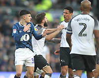 Blackburn Rovers John Buckley  argues with Derby County's Curtis Davies<br /> <br /> Photographer Mick Walker/CameraSport<br /> <br /> The EFL Sky Bet Championship - Derby County v Blackburn Rovers - Sunday 8th March 2020  - Pride Park - Derby<br /> <br /> World Copyright © 2020 CameraSport. All rights reserved. 43 Linden Ave. Countesthorpe. Leicester. England. LE8 5PG - Tel: +44 (0) 116 277 4147 - admin@camerasport.com - www.camerasport.com