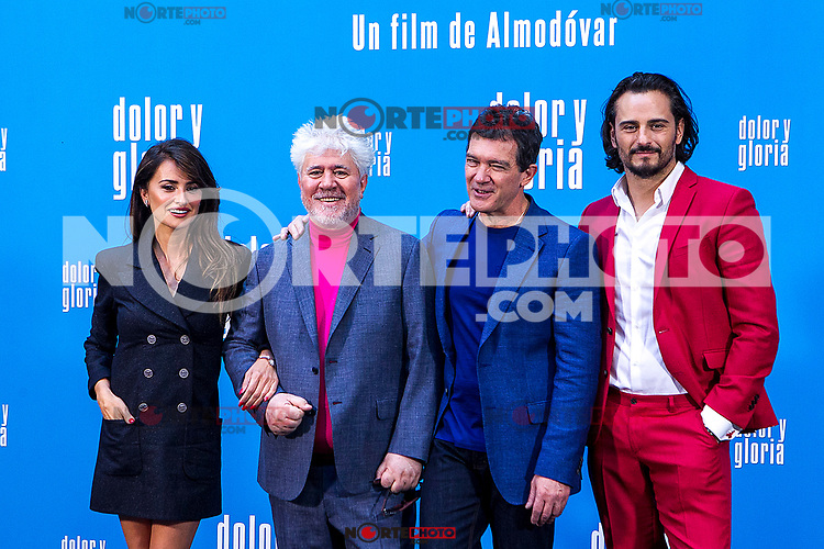 Penelope Cruz, Pedro Almodovar, Antonio Banderas and Asier Etxeandía attend the photocall of the movie 'Dolor y gloria' in Villa Magna Hotel, Madrid 12th March 2019. (ALTERPHOTOS/Alconada) /NortePhoto.con NORTEPHOTOMEXICO
