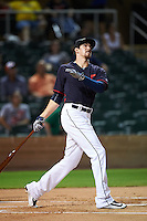 Mesa Solar Sox Bradley Zimmer (7), of the Cleveland Indians organization, watches a ball during the Bowman Hitting Challenge on October 8, 2016 at the Salt River Fields at Talking Stick in Scottsdale, Arizona.  Zimmer placed first for the American League.  (Mike Janes/Four Seam Images)