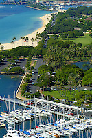 View of Ala Moana beach park and Ala Wai boat harbor from above