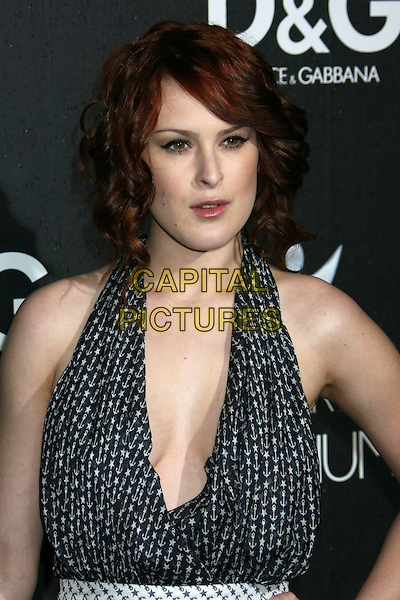 RUMER WILLIS.D&G Flagship Boutique Opening Benefiting The Art of Elysium held at the Dolce & Gabana Boutique on Roberston Blvd, Beverly Hills, California, USA..December 15th, 2008.half length halterneck dress plunging neckline cleavage blue white polka dot black clutch bag stars anchor pattern print tattoo .CAP/ADM/MJ.©Michael Jade/AdMedia/Capital Pictures.