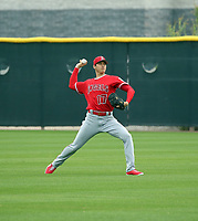 Shohei Ohtani of the Los Angeles Angels participates in the second day of spring training at Tempe Diablo Stadium on February 15, 2018 in Tempe, Arizona (Bill Mitchell)